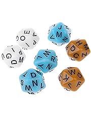 SUCHUANGUANG 7 Piezas/Set 20 Lados D20 Alfabeto inglés Letras diales Accesorios de Juego de Mesa para niños Juguetes educativos Dados de Alfabeto acrílico