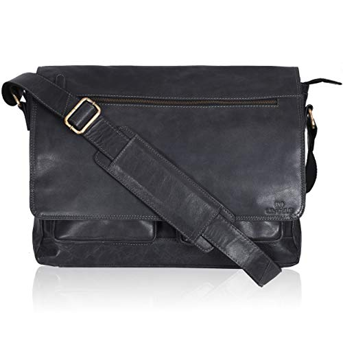 Leather Messenger Bag for Men & Women 14inch laptop Bag for Travel College Work - Handmade by LEVOGUE (Black Crunch)