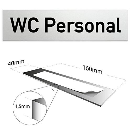 Kinekt3d Leitsysteme Aluminium Türschild WC Personal 160 x 40 x 1,5mm (Oberfläche Veredelt) Selbstklebend