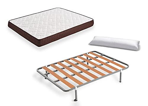 Hogar24 Es Cama Completa-Colchón Viscobrown Reversible + Somier Basic + 4 Patas + Almohada Fibra, 135x190