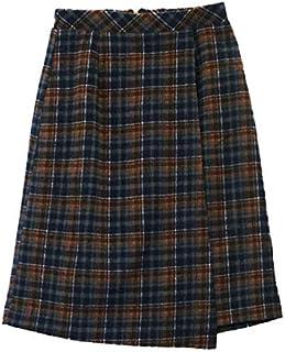 リュリュ(RyuRyu) チェック柄ラップ風ひざ丈スカート