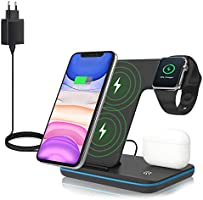 ZHIKE Wireless Charger, 3 in 1 Qi-Certified 15W Fast Charging Station (UK Plug) for Smartphone, Apple iWatch Series...