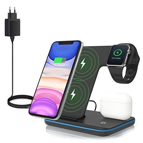 ZHIKE Chargeur sans Fil, Station de Charge Rapide 3 en 1 Qi 15W avec Adaptateur QC3.0 pour Apple iWatch série 5/4/3/2/1, AirPods, Compatible avec iPhone, téléphone Portable Android, Samsung, Huawei