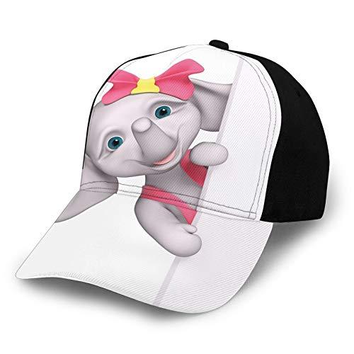 Printed Adjustable Baseball Cap,Funny Cartoon Character Animal Saying Hello Peaking 3D Print,Hat for Men Women Teens