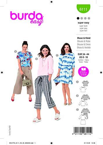 Burda 6111 Schnittmuster Bluse und Kleid (Damen, Gr. 34-44) Level 1 super Easy