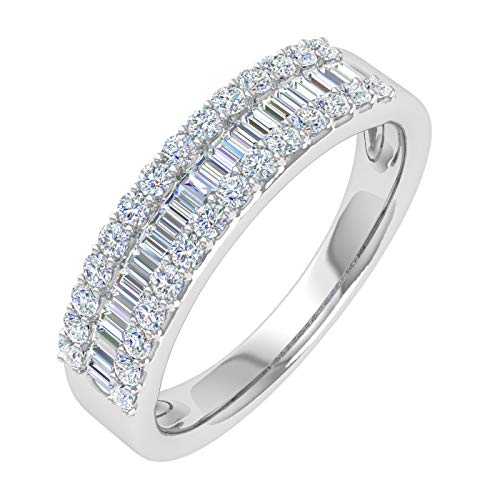 1/2 Carat Baguette and Round Shape Diamond Wedding Band Ring in 10K White Gold (Ring Size 9)