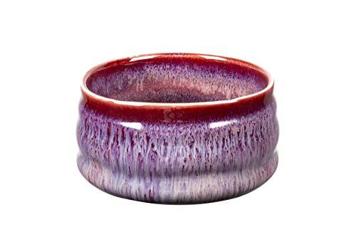 MYCHA Japanische handgemachte Matcha-Teeschale, Matcha-Teetasse Zeremonie, authentische Mino Ware Pottery (lila-rot)