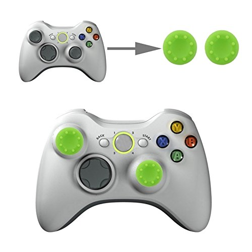 Microware 2 PCS Silicone Key Protector Thumb Grips Joystick Caps for PS4 & XBOX (Green)