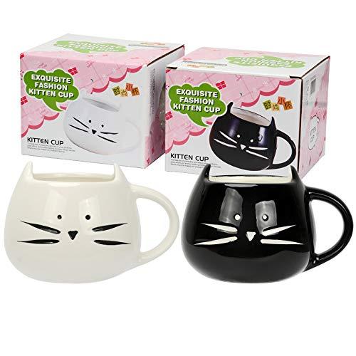 Tougo 2 Pz Tazza da caffè di Ceramica, caffè e Latte Tazza Compleanno, Bianchi e Neri, 350ml