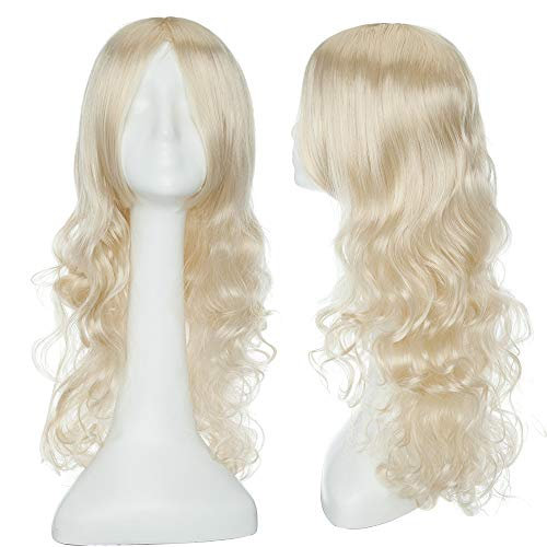 24inch Long Curly Linen Blonde Cosplay Costume Wigs Women Heat Resistant Synthetic Hair Wavy Full Wig With Long Bangs Anime Party Halloween Fancy 60cm