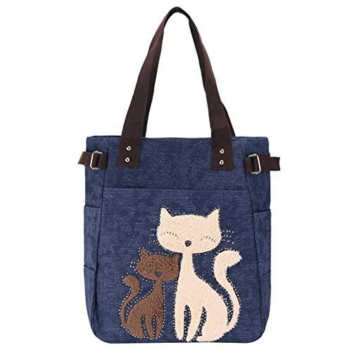 KTENME Handtasche aus Segeltuch mit Katzenmotiv, große Kapazität, Tierform, Handtasche für Strand, Einkaufen, Reisen, Business (blau)
