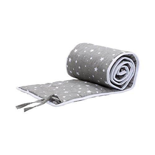 Fillikid Tour de lit pour lit cododo Cocon 26x165 cm tour de lit tour de lit bébé, étoiles gris