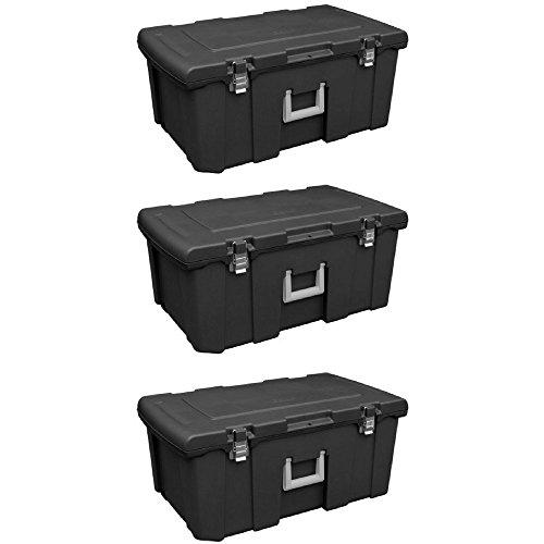 Sterilite 18429001 Footlocker, Black w/ Titanium Handle & Galvanized Steel Latches, 1-Pack (3)
