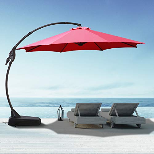 12 FT Offset Cantilever Patio Umbrella Goognice Large Outdoor Market Table Heavy Duty Hanging Umbrella with Baseuminum Alloy Pole for Swimming Pool, Garden, Porch, Deck, Lawn, Backyard and Restaurant