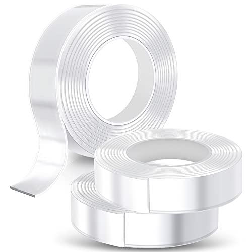 Yewrrite Pack de 3 cintas adhesivas de doble cara extrafuertes, nano tape, lavables, transparentes, extraíbles, reutilizables, resistentes al agua
