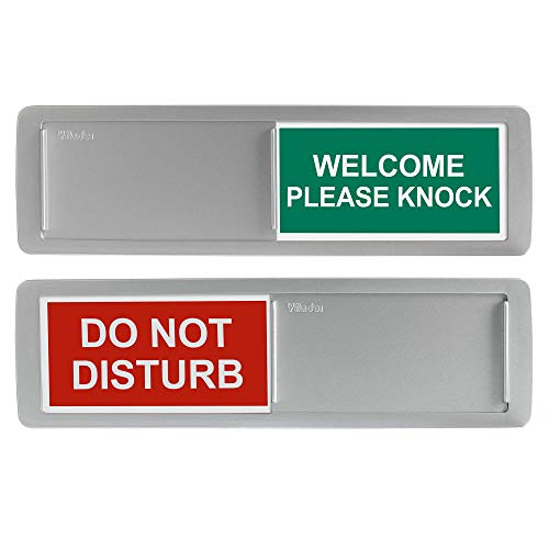 Privacy Sign, Do Not Disturb/Welcome Sign for Home Office Restroom Conference Hotles Hospital, Privacy Slide Door Sign Tells Whether Room in Vacant or Occupied, 7'' x 2'' Indicator - Silver