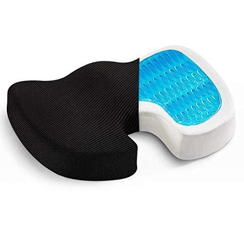 Gel Enhanced Seat Cushion - Non-Slip Orthopedic Gel & Memory Foam Coccyx Cushion for Tailbone Pain - Office Chair Car Seat Cushion - Sciatica & Back Pain Relief (Gel Foam)