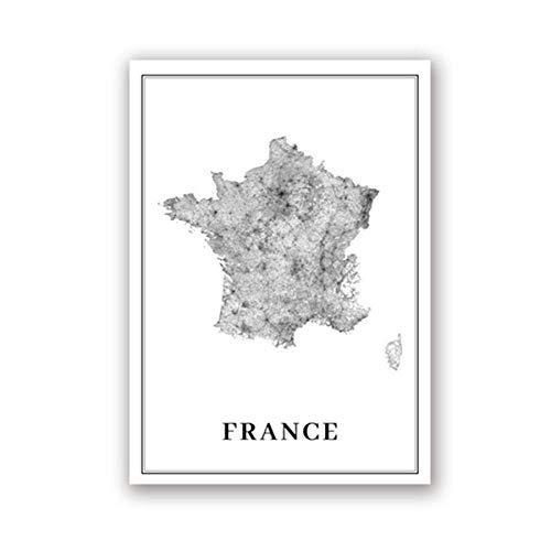 CNHNWJ Paris Europa kaart kunst canvas schilderij Moderne muurschildering Office Home Decor Frankrijk kaart afdrukken Road Map Art Poster (40x60cmx1 / geen lijst)