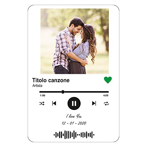 Targa Personalizzata Musica, Cornice Foto in Plexiglass acrilico Trasparente. Targa Regalo per San Valentino. Foto anniversario