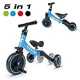 Besrey 三輪車 自転車 バランスバイク ペダルなし自転車 5 in 1キックバイク 1-5歳子供用 変身バイク T型ハンドル 持ち運びやすい 空気入れ不要 調整可 折りたたみ 青