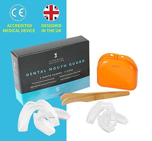 Time2Sleep - 4 x Férula Dental de Descarga anti Bruxismo - Protector Bucal para Dormir - Aparato Dental Antironquidos y Trastornos de la ATM - Solución Antironquidos