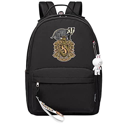 MMZ Mochila para niñas para la escuela Hufflepuff, mochila liviana para niños, estuche para lápices para la escuela secundaria media, estampado retro (negro)