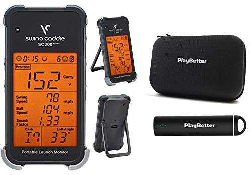 Swing Caddie SC200 Plus+ (2019 Model) Portable Golf Launch Monitor by Voice Caddie Power Bundle | PlayBetter Portable Charger & Protective Case | Doppler Radar | Smash Factor, Barometric Pressure