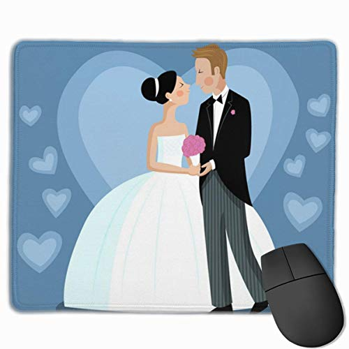 Newlyweds Wedding Non-Skid Unique Designs Gaming Mouse Pad Black Cloth Rectangle Mousepad Art Natural Rubber Mouse Mat with Stitched Edges