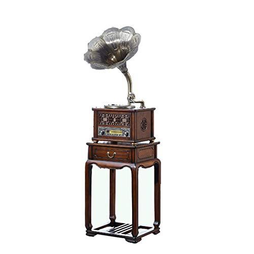 FSJD Tocadiscos de Vinilo Vintage Altavoz Antiguo Tocadiscos Bluetooth 3 velocidades Edad Media Tocadiscos de Vinilo Estilo Sala de Estar decoración del hogar