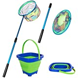 Kids Fishing Net, Telescopic Landing Net with Aluminum Pole Handle, Collapsible Bucket Kids Sand Pail, Butterfly Nets for Kids Fishing Net for Kids, Outdoor Playing (Blue)