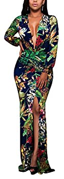 sexycherry Women Deep V-Neck Elegant Long Sleeves Sexy Flower Floral Cocktail Maxi Party Dress