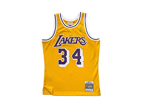 Mitchell & Ness Los Angeles Lakers Shaquille O Neal 34 Yellow Replica Swingman Jersey 2.0 NBA HWC Basketball Trikot