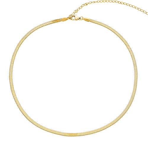 LEGITTA Damen Fischgrätenmuster Kette Choker in Gold Zarte Schlangenkette Halskette aus Edelstahl Titan Schmuck Nickelfrei