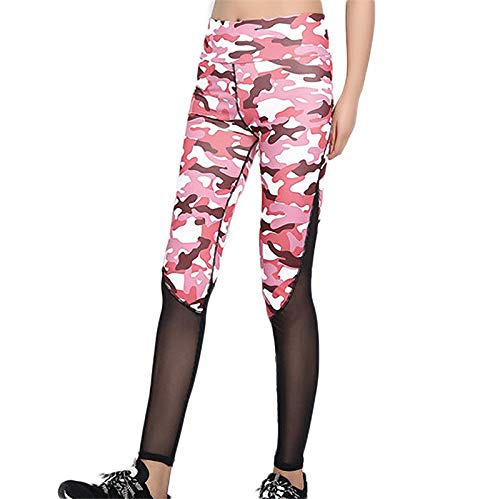 Watopi Damen Camouflage Mesh Stitching Yoga Hose Quick Dry Laufhose Legging