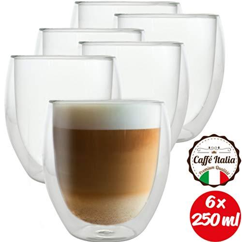 Caffé Italia Roma 6 x Juego de Vasos para Capuchino 250 ml - Vasos Térmicos - para Bebidas frías, Calientes, té y Latte Macchiato - Aptos para lavavajillas…