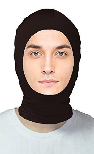 VSVO Adults Black Spandex Open Face Zentai Hood Mask (Adults, Black)