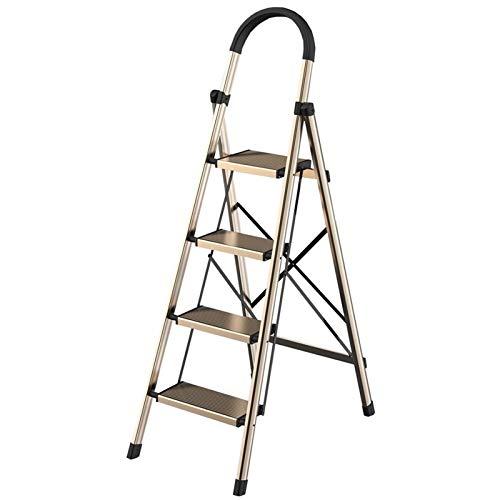 WHOJA Escalera de Heces de 4 Pasos Escalera de Aluminio Pies Antideslizantes Diseño Plegable fácil de almacenar Ideal para hogar/Cocina/Garaje Capacidad de 330 LB Ligera y Resistente
