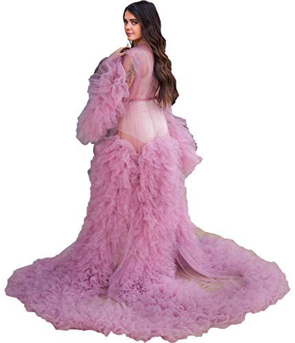 Ladies Dressing Gown Perspective Sheer Long Robe Puffy Tulle Robe for Photoshoot
