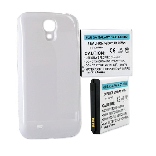 Empire brand replacement for Samsung Galaxy S 4, (16, 32, 64GB), Galaxy S4, GT-I9500, GT-I9505, SCH-I337, SCH-I545, SCH-R970, SCH-R970C, SGH-I337, SGH-M919, SPH-L720, HIGH CAPACITY 5200mAh, 3.8v, Li-ion, with NFC AND WHITE COVER