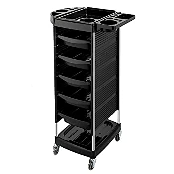 Mefeir Salon Trolley Cart with 5 ABS Drawers & Rolling Wheels for Stylist Hairdresser Beauty Furniture Hair Styling Storage Station Color Tray Holder