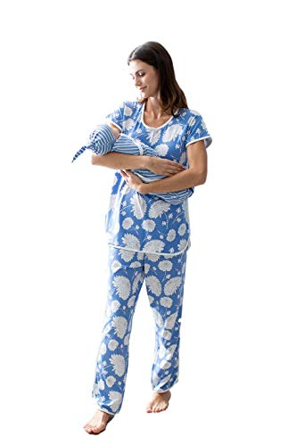 Mommy and Me Family Matching Women's Pajamas and Baby Swaddle Blanket/Hat Set (XL 16-18, Zoe/Stripe Swaddle)