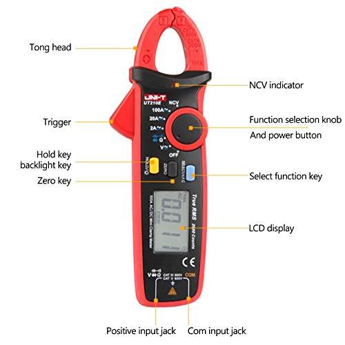 ORETG45 UT210E Mini-Digital-Klemmmeter, UT210E Handheld RMS A-C/DC Mini Digital Clamp Meter Widerstand Kapazität Tester, nicht null, Rot+Grau, Free Size