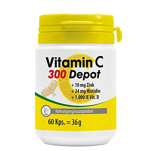 Pharma-Peter VITAMIN C 300 Depot + Zink + Histidin + Vitamin D Kapseln, langanhaltender Depot-Effekt, Laborgeprüft, MADE IN GERMANY