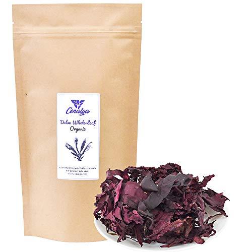 CENALGA Organic Dulse Whole Leaf - We avoid Plastic 1.5 oz / 42.5 g Bag - Culinary Quality Hand-Harvested Atlantic Seaweed - Vegan -