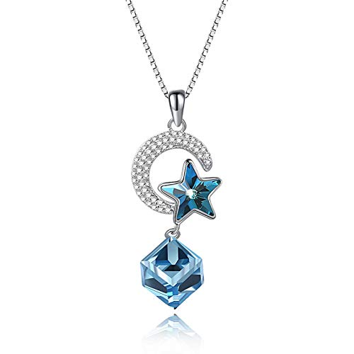 Yandm Sterling Silver Moon Star Blue Square Austria Crystal Double Pendant Necklace for Women