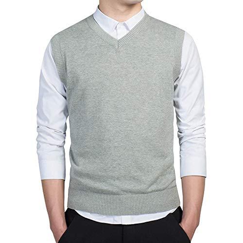 KKK-3boss Clothing Pullover Sweater Men Autumn V Neck Slim Vest Sweaters Sleeveless Men's Warm Sweater Cotton Casual,Light Grey 7789,XL