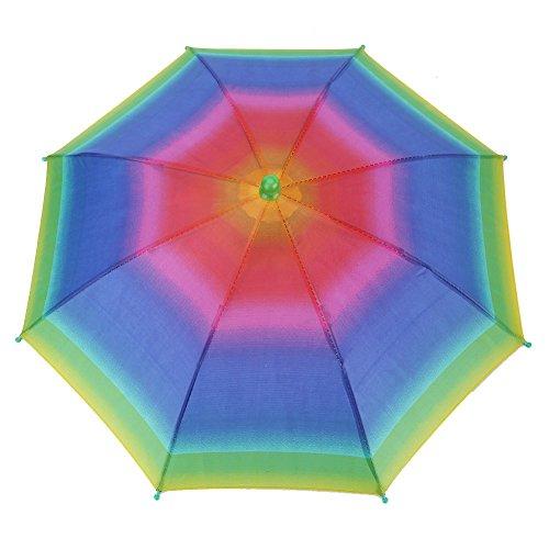 VGEBY1 Regenschirm Hut, Faltbarer Sonnenschutz Regenschirm Kappen Neuheit Regen Kopfbedeckung für Fischen Golf Wandern(Regenbogen)