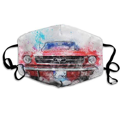 Auto altes Auto Mustnag Art Abstract Aquarell Staubschutzhüllen Mundabdeckung Party Mundabdeckung