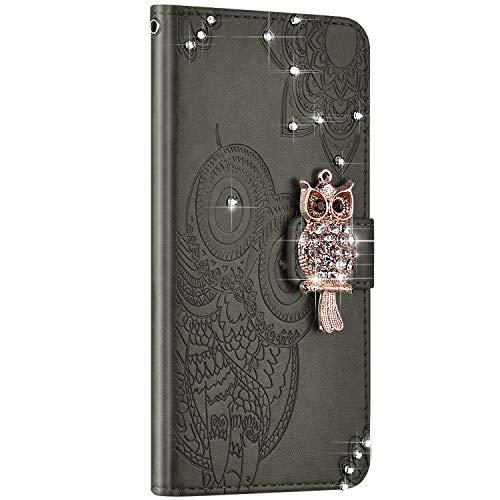 NSSTAR kompatibel mit Galaxy A20S Hülle Leder Ledertasche Flip Case Schutzhülle Diamant Owl geprägte Ledertasche mit Lanyard Handyhülle Schutz Handytasche kratzfest stoßfest,Grau