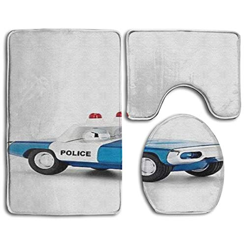 N\A Juego de alfombras de baño con Estampado de Coche de policía, 3 Piezas, alfombras de baño Antideslizantes + Cubierta de Asiento de Inodoro + Alfombra de Contorno